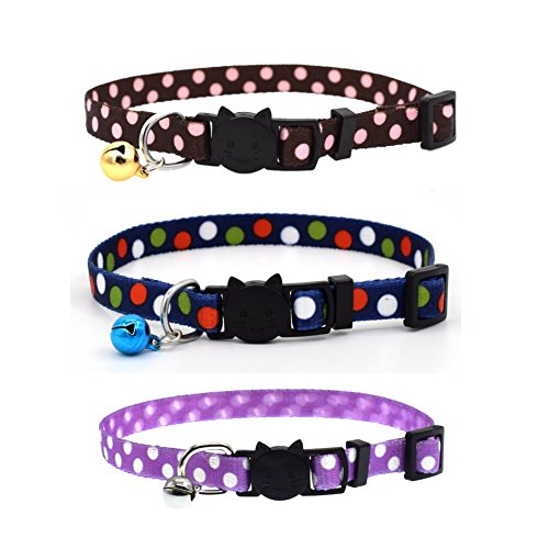 - Stock Show Pet Breakaway Cat Collar with Bell, Adjustable Fashion Cute Polka Dots Flowers Printing Design Soft Nylon Cat Collar Charm for Cat Kitten Kitty Dog Puppy, Pack of 3