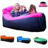 MAMBLE Inflatable Lounger Sofa Portable Sofa Bed Air Sofa for Travelling, Camping, Beach, Park Pink