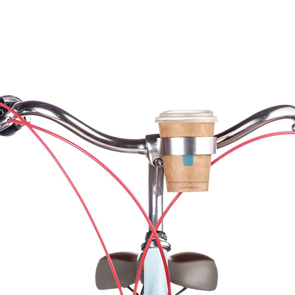 Favourall Bicicleta Soporte para Bebidas Cafe Soporte Portavasos, Lata Soporte, Mountain Bike Handlebar Coffee, Water Cup Holder Cage, Plata