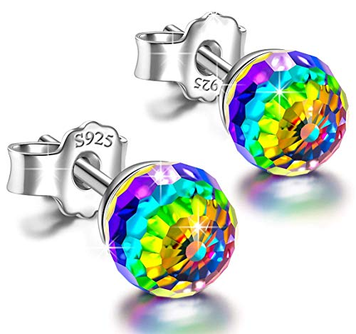 Sterling Silver Colorful Aurora Crystals Stud Earrings Embellished with crystals from Swarovski,Hypoallergenic Earrings,The Best Choice For Birthday Gifts/Holiday Gifts,Give You A Unique One Gift