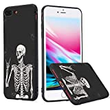 LuGeKe Skeleton Phone Case Cover for iPhone 7 Plus/iPhone 8 Plus Smile Skull Printed Phone Cover Shell Frame for iPhone Drop Protection Reinforced Protector