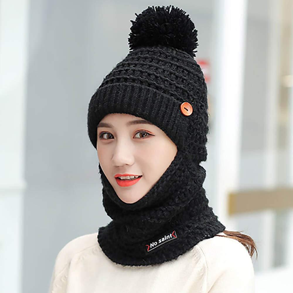 118026ae625 Amazon.com  EnjoCho Clearance Sale! Knitting Beanie Hat Scarf Men s Women s  Winter Plaid Hairball Hat Thicken Hedging Cap Scarves Warm Ski Cap Scarf  Set ...