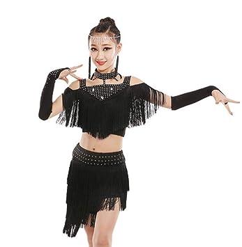 YZLL Trajes de Baile Latino para niños, Traje de Borla de ...