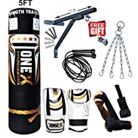 Heavy Filled 11 Piece 5ft Boxing Punch Bag Set Gloves Bracket Chains MMA Pad