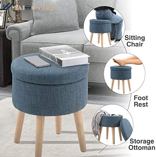 MAISON ARTS Round Storage Ottoman Vanity Stool Foot Stool Seat Dressing Chair Footrest Side Table Tufted Ottoman Coffee Table