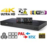 LG 970 UHD - Dual HDMI - 2D/3D - Wi-Fi - 2K/4K - Region Free Blu Ray Disc DVD Player - PAL/NTSC - USB - 100-240V 50/60Hz for World-Wide Use & 6 Feet Multi System 4K HDMI Cable