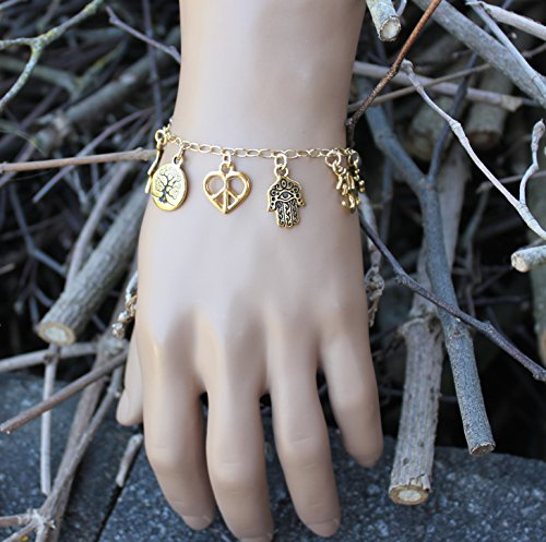 World Religions Peace Coexist Charm Bracelet 22k Gold Plated Charms,14k Gold fill Chain Sizes XS XL