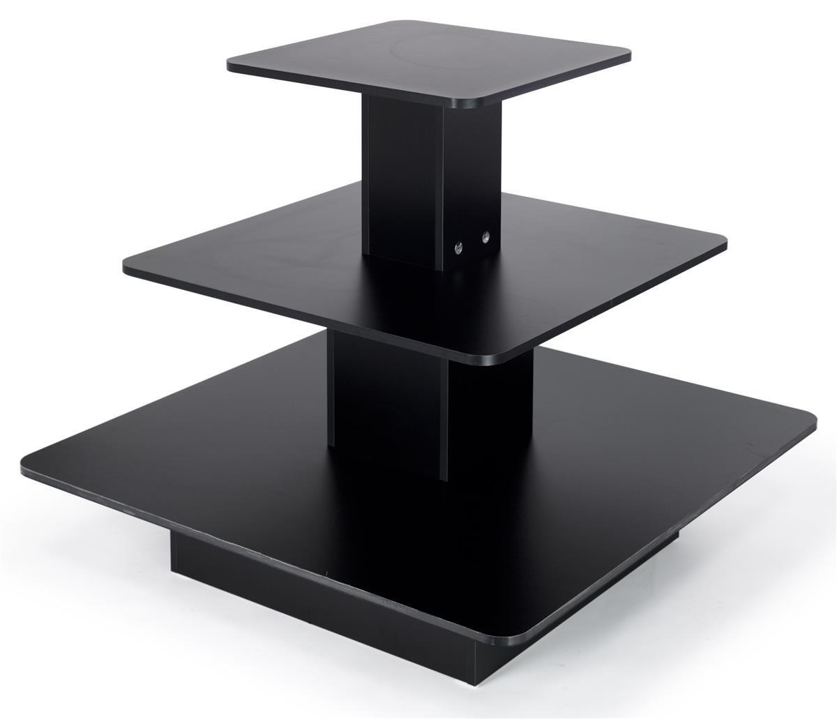 Displays2go 48 x 48 Inch Three-Tiered Display Table, Square - Black (3TST4848BK)