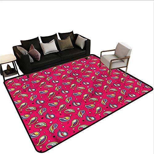 - Paisley,Bathroom Rug Kitchen Carpet 24