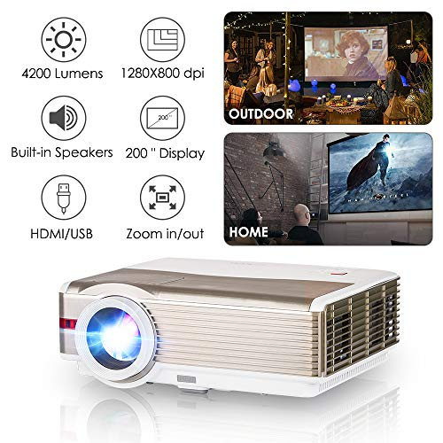 Theater Lens Projector No (LED Movie Projector HD 1080P 4200 Lumen LCD Indoor Outdoor Video TV Projectors Home Theater Cinema with HDMI VGA Aux Audio USB, 10W HiFi Speaker, Keystone, Zoom for DVD Player PS4 Wii Xbox Laptop PC)