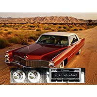 1965-1966 Cadillac USA-630 II High Power 300 watt AM FM Car Stereo/Radio with AUX Input, USB Input, iPod Docking Cable. No modifications to original dash required.