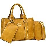 Women Handbag 3 Pieces Set Leather Shoulder Bag Satchel Purse 3 in 1 Simple Design Mustard
