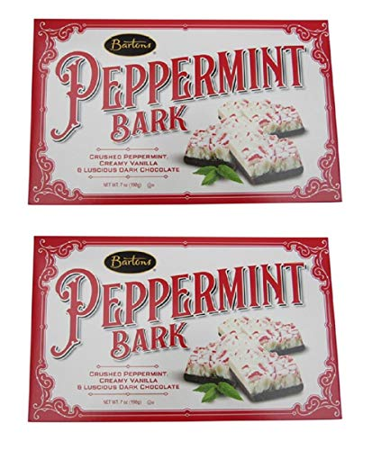 Bartons Old Fashioned Peppermint Bark Dark Chocolate Holiday Candy, 7.0 oz (Pack of 2)