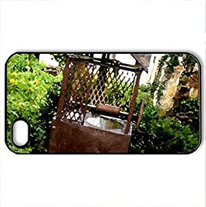 Abandoned Fountain - Case Cover for iPhone 4 and 4s (Houses Series, Watercolor style, Black)