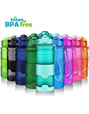 ZORRI Sports Water Bottle With Filter for Kids, 400ml/500ml/24 oz/32 oz/large 1 litre Leakproof BPA Free Water Bottles For Gym, Cycling, Running - Opens With 1-Click, Lockable Flip Top Lid