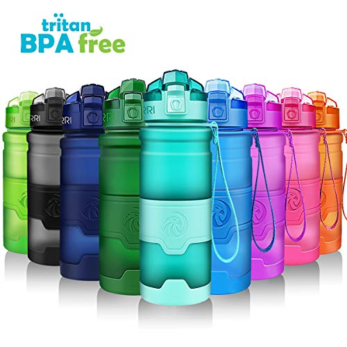 ZORRI Sports Water Bottle Leak Proof, BPA Free Reusable Portable Sports Bottle for Outdoors, Cycling, Camping, Hiking, Fitness, Running, Gym Bottles with Filter, One Click Flip Cap - for Kids/Adults