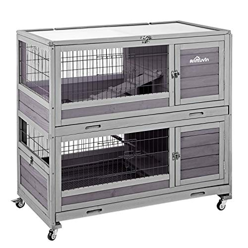 Aivituvin [Upgrade Version] Rabbit Hutch Indoor and Outdoor Bunny Cage on Wheels Guinea Pig Cage with Deep No Leak Pull Out Tray