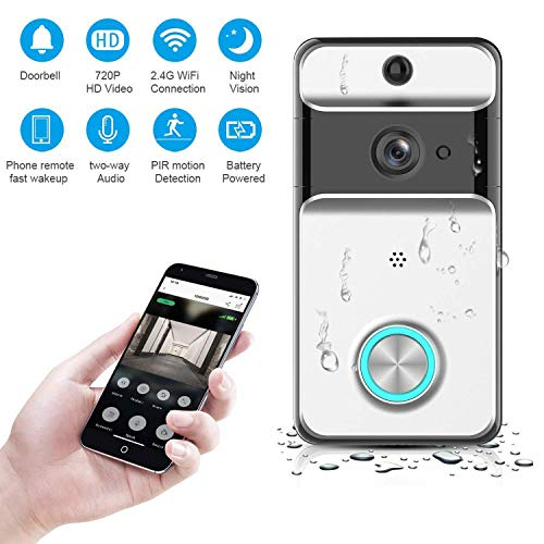 Video Doorbell, Teepao WiFi Smart Wireless Network Video Doorbell 720P HD  Security Camera Real-Time Video Two-Way Audio Night Vision PIR Motion