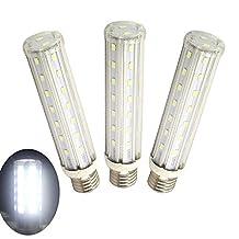 Luxvista 15W Medium Screw Base E26/E27 Led Corn Light Bulb Daylight 6000K Indoor Home Decorative T10 Tubular Light Bulb, 3-pack
