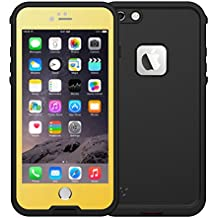 Vcloo Plastic Silicone Waterproof Shockproof Case with Transparent Screen Protector for iPhone 6 Plus (Yellow)