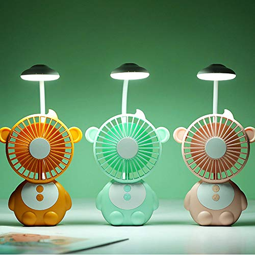 Jajx-comac USB Personal Desk Fan Monkey Table Lamp Mini Handheld Portable Desktop Table Fan with LED Night Light for Office Household for Home Office Table Color : Green, Size : One Size