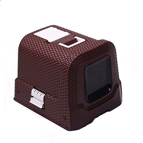 LUOER Rattan Style Fully Enclosed Cat Toilet Litter Basin Large Space Cat Potty Brown Pp Material