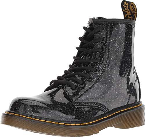 Black Patent Boots For Girls (Dr. Martens Kid's Collection Girl's 1460 Patent Glitter Junior Delaney Boot (Little Kid/Big Kid) Black Coated Glitter 11 M UK)