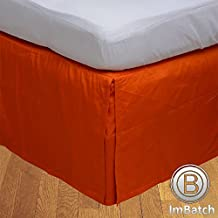 Twin 300TC 100% Egyptian Cotton Orange Solid Superb Finish 1PCs Box Pleated Bedskirt Solid (Drop Length: 14 inches)
