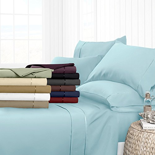 Egyptian Luxury Hotel Collection 4-Piece Bed Sheet Set - Deep Pockets, Wrinkle and Fade Resistant, Hypoallergenic Sheet and Pillow Case Set  - California King, Aqua Aqua Sheet Set