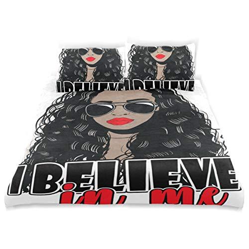 VAMIX Duvet Cover Set African American Woman Decorative 3 Piece Bedding Set with 2 Pillow Shams Soft Bedding Set with Zipper Closure