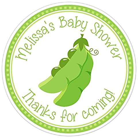Green Peas in a Pod Stickers, Baby Shower Favor Labels, Baby Shower Stickers, Sweet Peas (36 count) - Sweet Pea Baby Shower