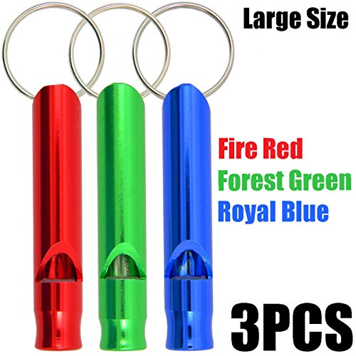 Shells 3PCS Bright Color Large Size Aluminum Alloy Waterproof Camping Survival Emergency Whistle Outdoor Exploration Loud Whistle, Fire Red, Forest Green and Royal Blue Color