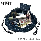 Toiletry Travel Bag | Lazy Drawstring Makeup Organizer with Magnetic Snap | Waterproof Cosmetic Pouch for Women, Men, Girls (Large 18 inches, Blue Feathers)
