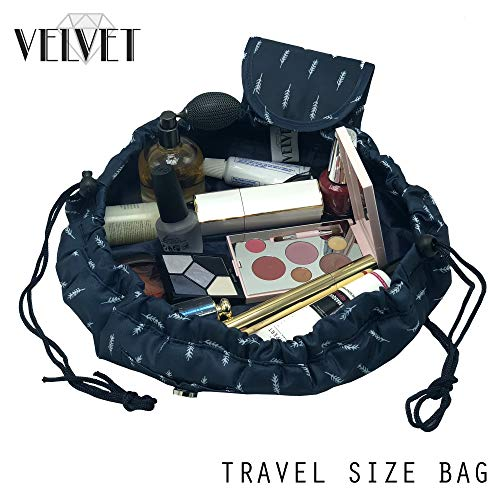Toiletry Travel Bag | Lazy Drawstring Makeup Organizer with Magnetic Snap | Waterproof Cosmetic Pouch for Women, Men, Girls (Large 18 inches, Blue Feathers) by VelvetBags (Image #8)