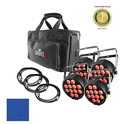(CHAUVET DJ SlimPACK Q12 USB Wireless DMX RGBA LED Wash Light Kit with Microfiber and 1 Year Everything Music Extended)