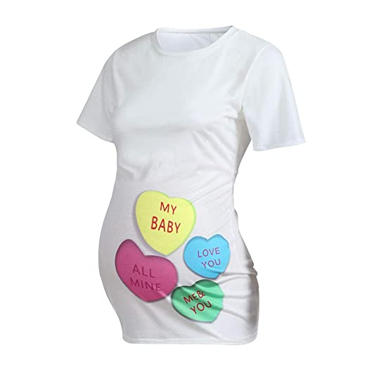 cd949cd6381eb Amazon.com: Maternity Shirts Colorful Heart Funny Valentines Day Pregnancy  T Shirt Tunic Tops: Clothing