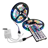 Led Strip Lights with Remote Control 9.8ft RGB 3528 SMD LED Rope Lighting Color Change Full Kit with 44-keys IR Remote Controller Power Supply for Home Car Kitchen Indoor Decoration 180 LEDs (colored)