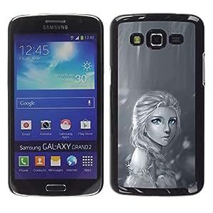Be Good Phone Accessory // Dura Cáscara cubierta Protectora Caso Carcasa Funda de Protección para Samsung Galaxy Grand 2 SM-G7102 SM-G7105 // Rain Lonely Sad Black White Drawing