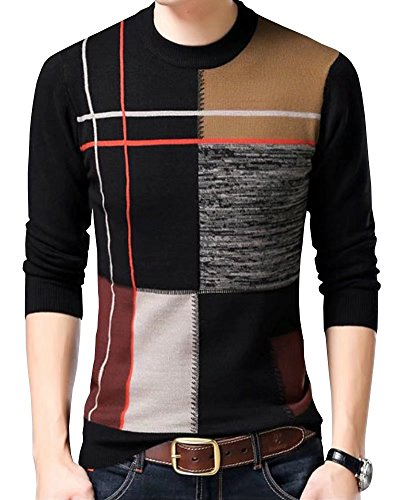 Wxian Men's Winter Round Neck Knitting Warm Pullover (50s Letterman Sweater)