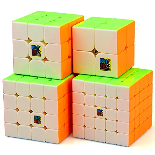 Gift Cube (CuberSpeed Speedcubing Bundle MoFang JiaoShi MF2S 2X2 & MF3RS 3X3 & MF4S 4X4 & MF5 5X5 Stickerless Bright Magic cube Cubing Classroom Stickerless speed cube set with Gift Packing)