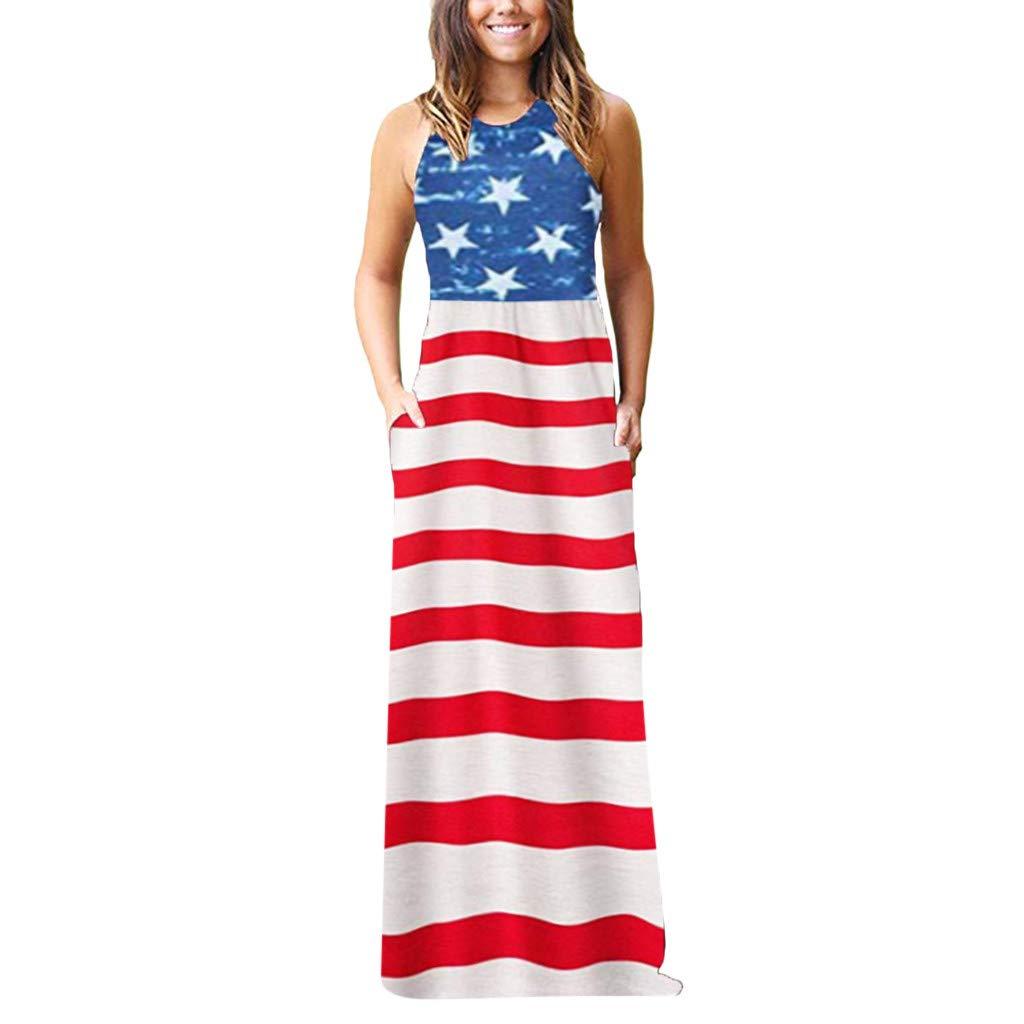 SNOWSONG Women's USA American Flag Star Print Striped Summer Casual Sleeveless Maxi Dress Tank Dress with Pocket (XL, Blue 21)