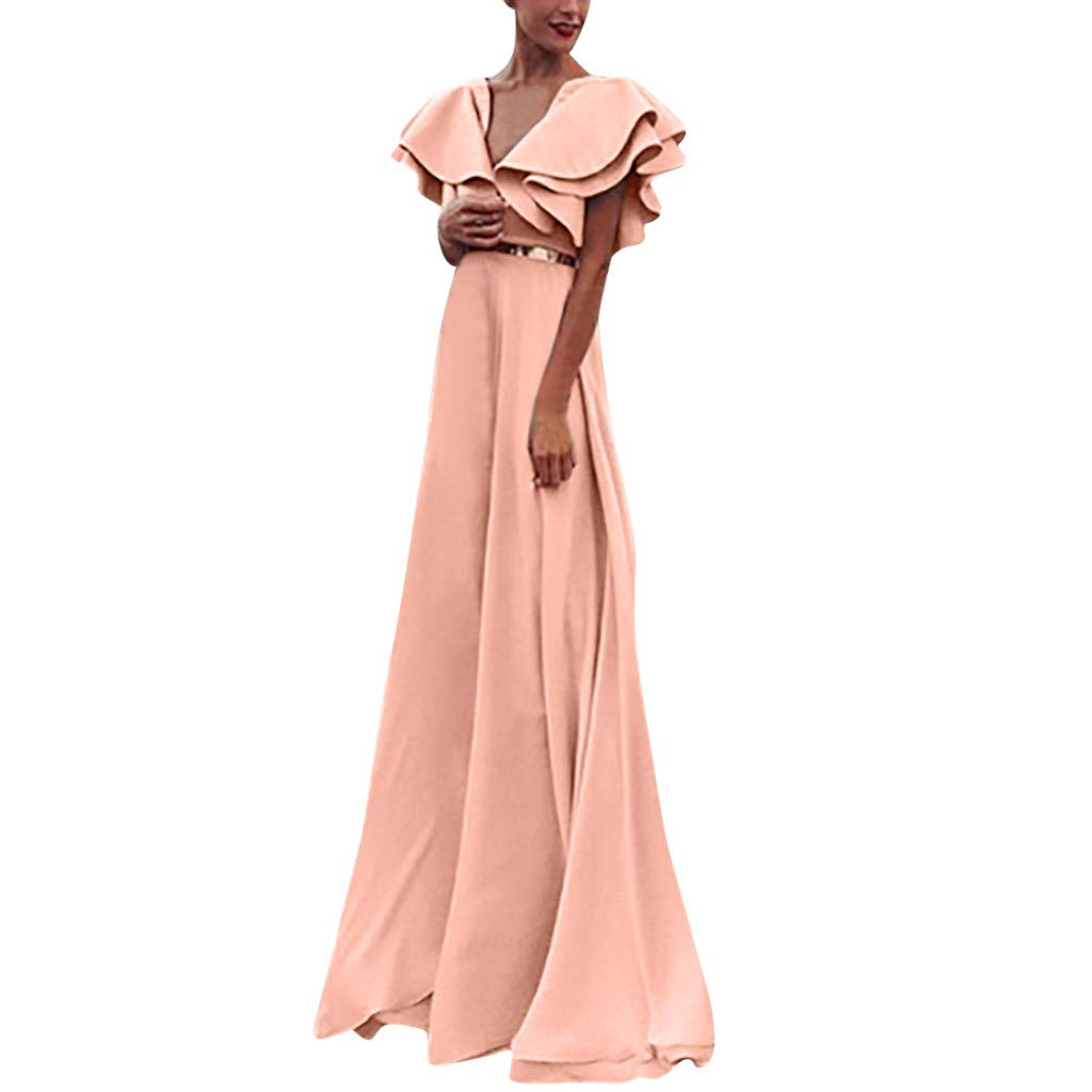 TANLANG Club Dresses for Women V-Neck Lace Ruffled Short-Sleeved Long Full-Cover Dress Ball Gowns Maxi Dress with Belt Pink by TANLANG-Dress (Image #1)