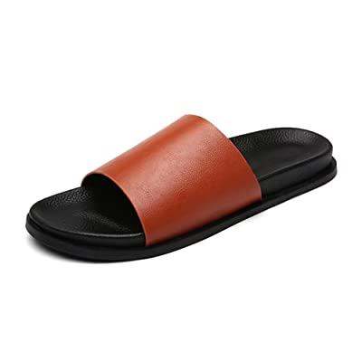 Aisun Men's Trendy Non Slip Open Toe Flat Slide Sandals Slippers Beach Sandy Shoes