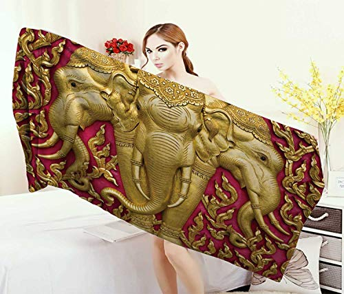Anniutwo Elephant,Bath Towel,Yellow Toned Elephant Motif on Door Thai Temple Spirituality Statue Classic,Bathroom Towels,Fuchsia Mustard Size: W 31.5'' x L 63'' by Anniutwo