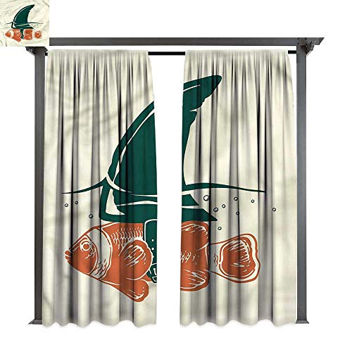 (cobeDecor Thermal Insulated Drapes Shark Pop Art Clown Fish with Fin for Lawn & Garden, Water & Wind Proof W120 xL96)