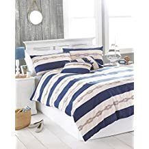 NAUTICAL KNOT NAVY BLUE CREAM CANADIAN TWIN (135CM X 200CM - UK SINGLE) COTTON BLEND COMFORTER COVER SET