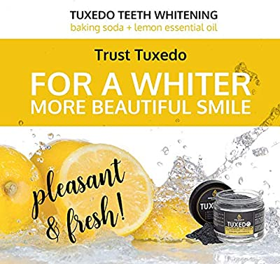 Tuxedo Teeth Whitening Activated Charcoal Powder, All Natural Tooth Whitener with Coconut Charcoal, and Bentonite Clay, Highest Quality Non Abrasive Safe on Enamel
