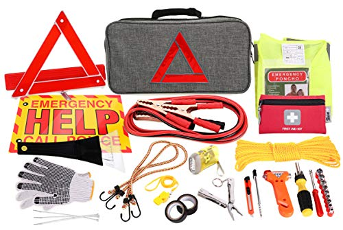 Thrive Roadside Assistance Auto Emergency Kit + First Aid Kit - Gray Travel Bag - Contains Jumper Cables, Tools, Reflective Safety Triangle and More. Ideal Winter Accessory for Your car or Truck