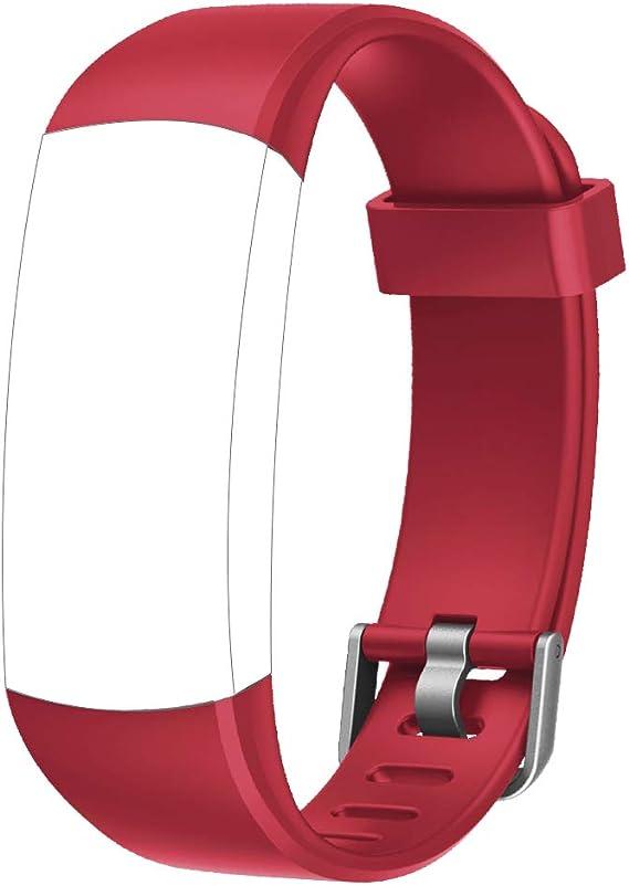 Yamay Sw336 Ersatz Armband Aus Tpu Für Smart Armband Id128 Farbe Hr Rot Sport Freizeit