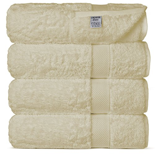 Chakir Turkish Linens Luxury Ultra Soft Bamboo 4-Piece Bath Towel Set – Soft, Absorbent and Eco-Friendly (Beige)